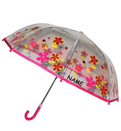alles-meine.de GmbH Regenschirm - Blumen & Marienkäfer - Kinderschirm transparent incl. Namen - Ø 76 cm - Kinder Stockschirm - für Mädchen Jungen Schirm Kinderregenschirm / Glock..