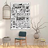 Amazing Robot Wallpaper Wall Decor Print, Futuristic Space Doodle Style Androids Hand Drawn Pattern Fantasy Machine Art Print Artwork Prints on Canvas Living Room Office, 20' W x 24' L