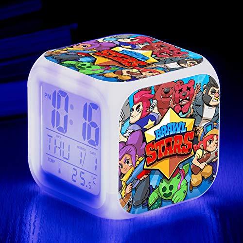 HHIAK666 Reloj de Alarma Cute Anime, 7 Colores LED Brillante Reloj Despertador Digital, para niños Festival Regalos Función de repetición multifunción Reloj 17