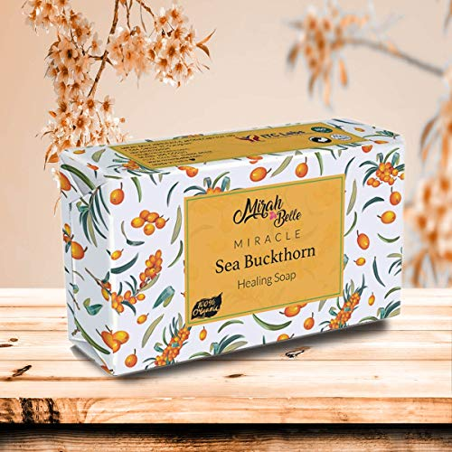 Mirah Belle - Organic Sea Buckthorn Soap Bar - BUY 2 GET 1 FREE - Dry Skin - Handmade, Natural, Vegan and Cruelty Free - 125 gm