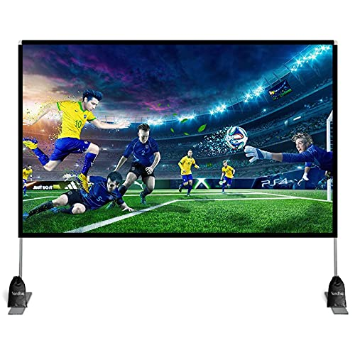 Abdtech 100 inch Projector Screen with Stand,Portable Projector Screen 4K HD Rear Front Projection Screen with Carry Bag for Outdoor Indoor Home Theater Backyard Cinema Travel