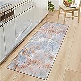 Alfombrillas de Cocina de impresión 3D de mármol, alfombras absorbentes Antideslizantes de baño, alfombras de Entrada para el Dormitorio y la Sala de Estar A9 50x160cm