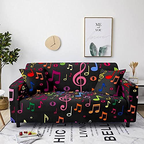 Funda Sofá Notas Musicales Coloridas Fundas Sofa Elasticas Cubre Sofa Spandex Estampadas Universal Espesasfunda Sillon Verano Modernas Fundas para Sofa Chaise Longue 4 Plazas