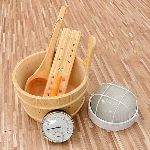5PCS Sauna kit set Houten Sauna Emmer, Gietlepel Spoon, Thermometer/hygrometer, zandloper en Lamp Kit Stoom Douche Accessoires