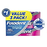 Fixodent Complete Original Denture Adhesive Cream, 2.4 oz, 3 Pack (Packaging May Vary)