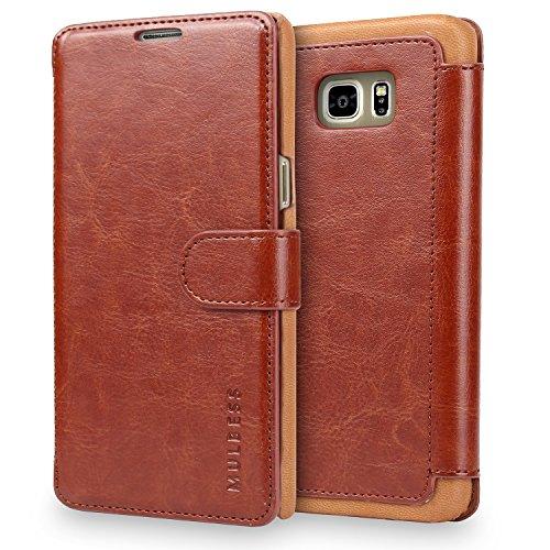 Mulbess Handyhülle für Samsung Galaxy S4 Mini Hülle Leder, Samsung Galaxy S4 Mini Handy Hüllen, Layered Flip Handytasche Schutzhülle für Samsung Galaxy S4 Mini Case, Braun