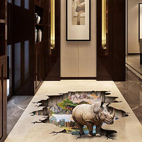 MXLYR Pegatinas de pared Pegatinas de pared de rinoceronte 3D decoración del hogar extraíble sala de estar dormitorio muebles en miniatura pegatina de suelo Hotel Oficina pegatinas de pared