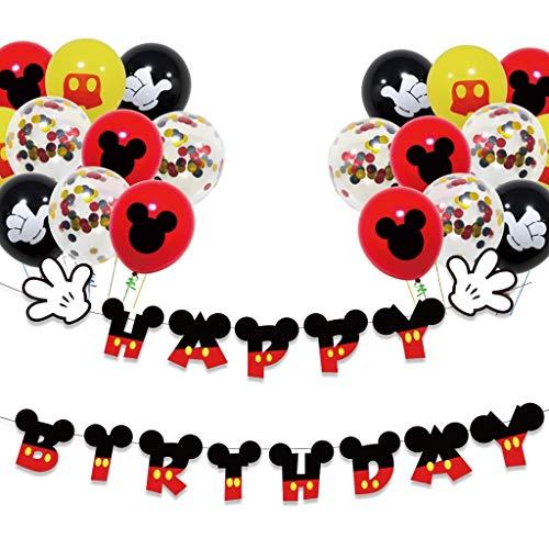Houstory Decoración de Fiesta temática de Mickey Cumpleaños, Globos de látex Negro Rojo de Mickey Mouse pancartas de Happy Birthday Globos de Confeti Colores para Fiestas de Cumpleaños Niños