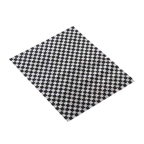 CUTICATE 1/12 Puppenhaus Zubehör Mosaik Fliesen / Bodenbelag mit Rückseite selbstklebend, aus Kunststoff, 16x10 cm - Schwarz