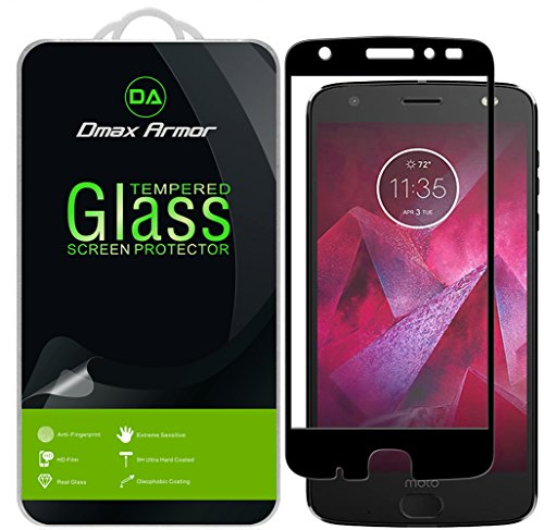 [2-Pack] Dmax Armor for Motorola Moto Z2 Force Edition/Moto Z Force Edition (2nd Gen) [Tempered Glass] Screen Protector, (Full Screen Coverage) (Black)