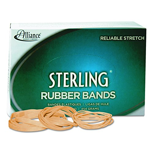 Alliance Rubber 24305 Sterling Rubber Bands Size #30, 1 lb Box Contains Approx. 1500 Bands (2' x 1/8', Natural Crepe)
