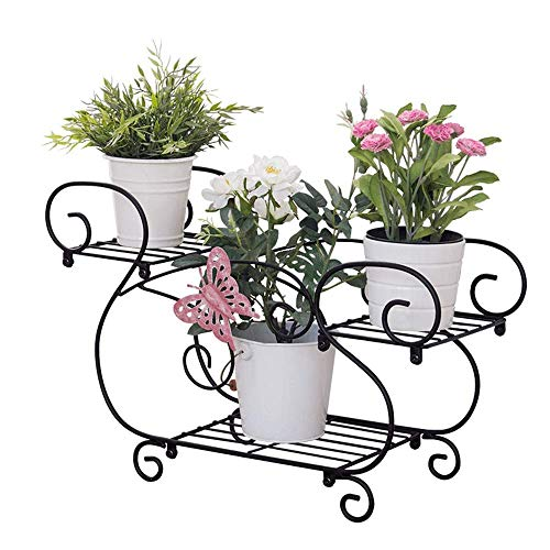 L.TSA Version Papillon Style européen en Fer forgé Support de Fleur en Forme de U Support de Pot de Fleur présentoir de Salon