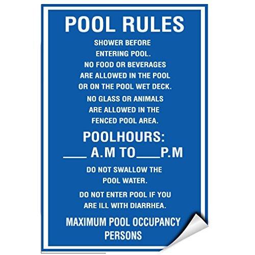 Zwembad regels douche voor het invoeren van zwembad geen voedsel of dranken label sticker 12 inch x 18 inch