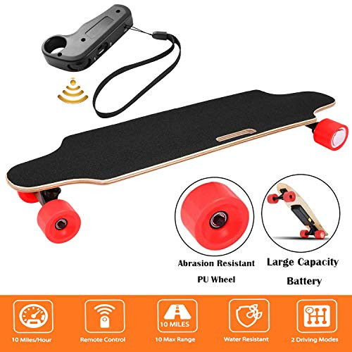 Aceshin Youth Electric Skateboard Electric Longboard 12 MPH Top Speed, 250W Motor,7 Layers Maple Motorized Longboard with Remote Control Gift for Adult Teens E-Skateboard (Red)