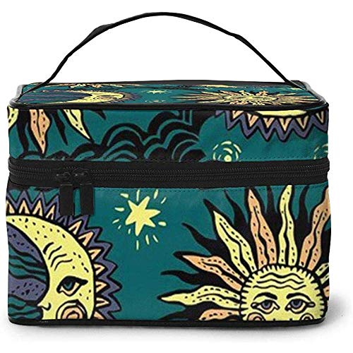 Cartoon Moon Sky Sun Pattern Portable Ladies Travel Cosmetic Case Bag Storage Makeup Pouch Multi-Function Wash Large Capacity