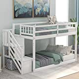SOFTSEA Bunk Beds with Stairs and Storage Shelves, Wood Floor Bunk Beds Twin Over Twin for Kids and Teens, No Box Spring Required (White)