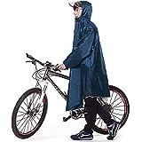 【2020最新版】レインコート Vanoble 自転車 バイク ロング ポンチョ 雨具 男女兼用 メンズ レディース 通勤通学 自転車 バイク に対応 フリーサイズ 完全防水 梅雨・台風対策 収納袋付き(ブルー)