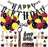 BlinBlin 49 Pcs Harry Potter Wizard Suministros Para Fiesta de Cumpleaños, Decoración Para Fiestas Temáticas HP Wizard Para Niños, Pancarta de Feliz Cumpleaños, Adornos Para Cupcakes, Globos.
