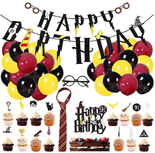 BlinBlin 49 Pcs Harry Potter Wizard Suministros Para Fiesta de Cumpleaños, Decoración Para Fiestas Temáticas HP Wizard Para Niños, Pancarta de Feliz Cumpleaños, Adornos Para Cupcakes, Globos..