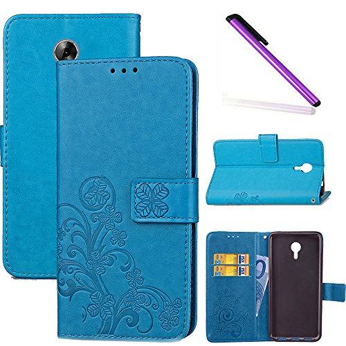 COTDINFOR Acer Liquid Z6+ Hülle für Mädchen Elegant Retro Premium PU Lederhülle Handy Tasche im Bookstyle mit Magnet Standfunktion Schutz Etui für Acer Liquid Z6 Plus Clover Blue SD.