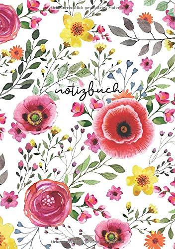 BLANKO NOTIZBUCH DIN A5: Journal zum Selbstgestalten oder als Zeichenbuch, Skizzenbuch, Blankobuch, Malbuch | 110 Seiten leer | Weißes Papier | Motiv Blume