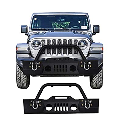 Goplus Front Bumper Rear Bumper For 2007-2016 Jeep Wrangler JK With Hooks & Fog Light Hole