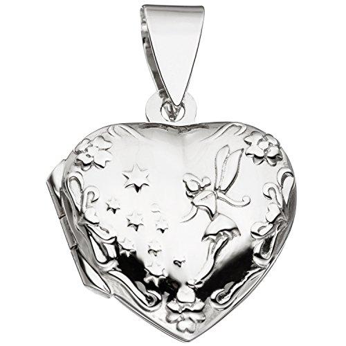 Medaillon Herz 925 Sterling Silber rhodiniert zum Öffnen für 2 Fotos