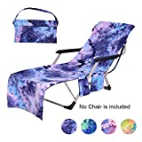 AKSIPO Beach Chair Cover with Side Pockets,Microfiber Chaise Lounge Chair Towel Cover for Sun Lounger Pool Sunbathing Garden Beach Hotel,Easy to Carry Around,No Sliding,Tie-Dye Blue(82.5' x 29.5')