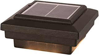 DEKOR Savvy Solar LED Post Cap Lights for Decks Fences Docks Porches Low Voltage Outdoor Lighting (Antique Metal Black, 4 1/8