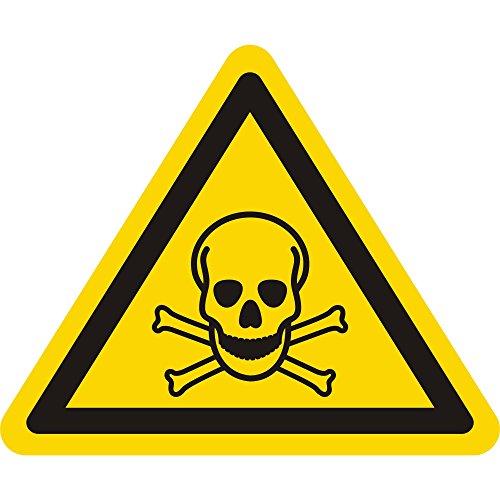 Labelident Warnaufkleber W016 - Warnung giftige Stoffe - Seitenlänge: 25 mm - 100 selbstklebende Warnzeichen in 1 Packung, Vinyl Folie selbstklebend