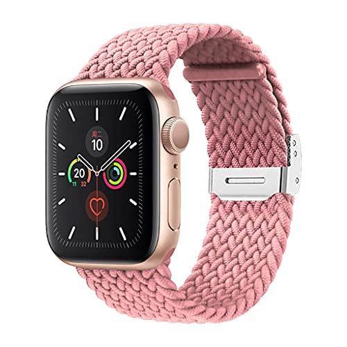 Elastisches Nylonarmband Geeignet for Apple Watch Strap 38mm 40mm 42mm 44mm Einstellbare Größe Geflochtene Schleife Gurt Geeignet for iWatch Series 6 SE 5 4 3 (Color : Rosa, Size : 38mm and 40mm)