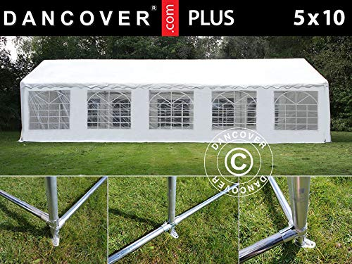 Dancover Partytent PLUS 5x10m PE, Wit + Grondframe