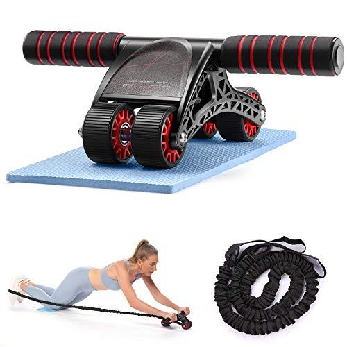 3 in 1 Bauchtrainer mit 4 Rädern, geräuscharm, AB-Wheel-Übungsrad mit Knieschoner für Mus-Training – maximale Belastung 150 kg