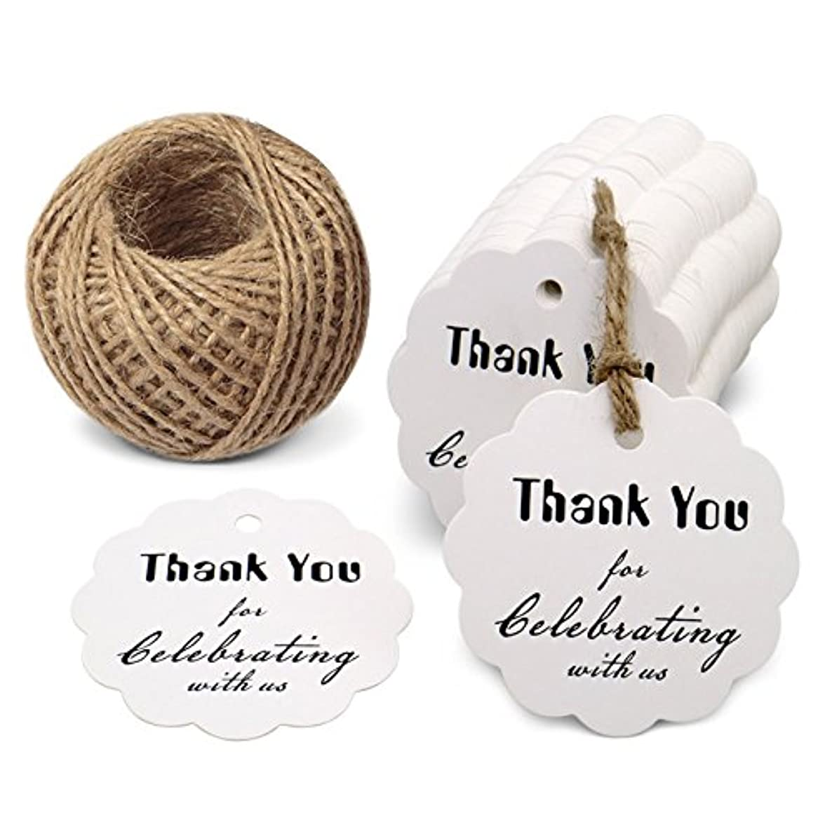 Paper Gift Tags,Thank You for Celebrating with Us,100 Pcs Kraft Tags for Wedding Party Favors,Gifts with 100 Feet Natural Jute Twine (White Flower)