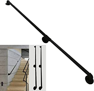1ft-20ft Handrail ,Stairs Indoor Outdoor Steps - Staircases Railing Handrails for Disabled Elderly Kids Black Metal Wrought Iron External Outside Wall Mount, Customizable Size (Size : 17ft)