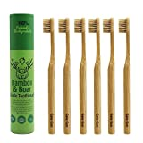 Natural Bristle Bamboo Toothbrush (NO Nylon - Boar Hair ONLY) - Totally Biodegradable Boar Bristle and Bamboo Toothbrushes - Zero Waste - 6-Pack