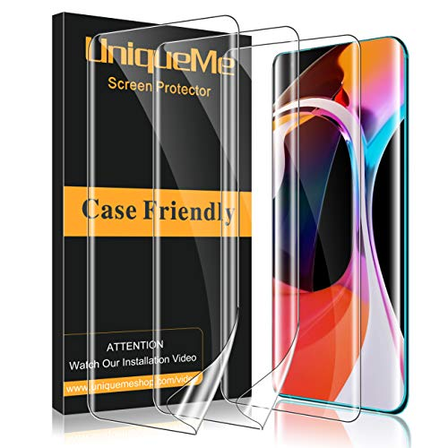 UniqueMe [3 Pack Protector de Pantalla para Xiaomi Mi 10 / Mi 10 Pro, [Fácil instalación] [Huella Digital Disponible] HD Clear TPU Case Friendly Película Flexible de Cobertura Completa