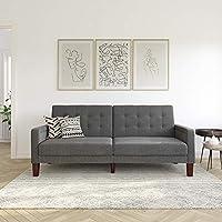 Better Homes & Gardens Porter Fabric Tufted Firm Futon (Gray Linen)