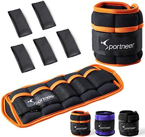 Sportneer verstellbare Gewichtsmanschetten für Fuß- oder Handgelenk, 2er Set, 0,23-0,9 kg pro Knöchel, 0,46-1,8 kg pro Paar, Schwarz
