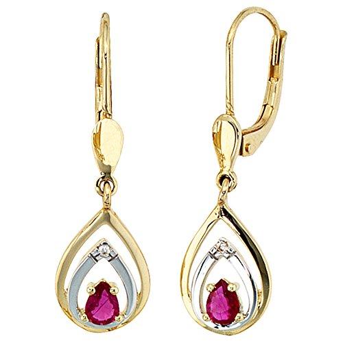 JOBO Damen-Ohrhänger aus 585 Gold mit Rubin Tropfen und 2 Diamanten