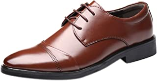 Inlefen Men' Leather Shoes Official Business Non-Slip Rubber Sole Leather Shoes