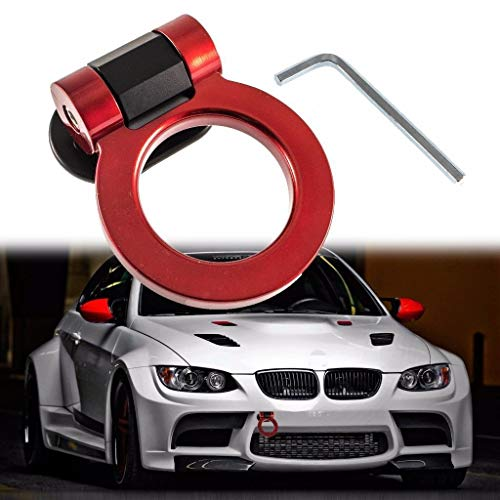Xotic Tech Universal Sports Red JDM Track Racing Style Tow Hook Ring for All Car Truck SUV