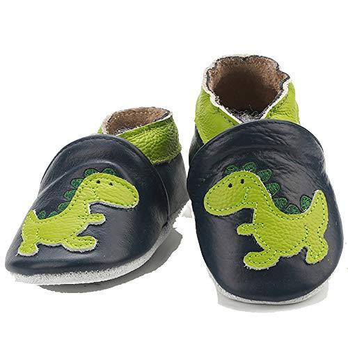 Kinderschuhe aus weichem Leder, erste Schritte nicht weich, für Babys, Mädchen, Jungen, - Dinosaurier - Größe: 18-24 mois