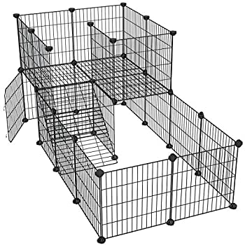 SONGMICS Pet Playpen with Door Guinea Pigs Metal Mesh Cage Customizable Fence for Small Animal Rabbit for Indoor Use with Rubber Mallet 56.3 x 28.7 x 28 Inches Black ULPI06H