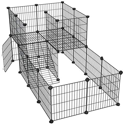 SONGMICS Pet Playpen with Door, Guinea Pigs Metal Mesh Cage, Customizable Fence for Small Animal, Rabbit, for Indoor Use, with Rubber Mallet, 56.3 x 28.7 x 28 Inches, Black ULPI06H
