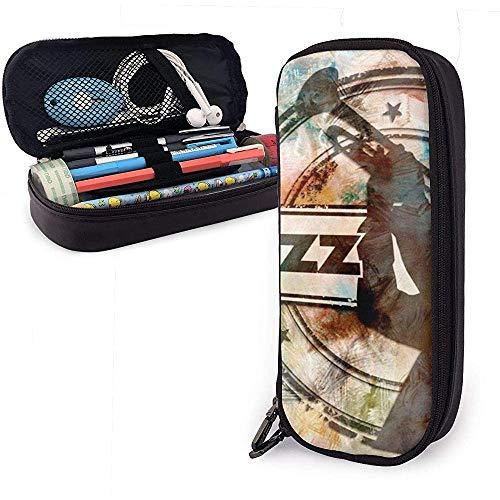 Logotipo y micrófono de Jazz Estuche lindo para lápices Estuche para lápices...