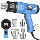 Heat Gun, Mowis 1800W Heavy Duty Hot Air Shrink Gun with LCD Display, Adjustable Temperature & Wind Speed (Color: Blue)