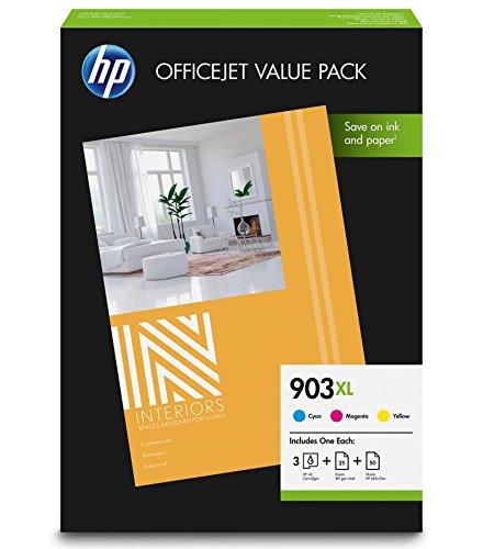 HP 903XL Office Value Pack, 3 Druckerpatronen mit hoher Reichweite (Blau, Rot, Gelb), 50 Blatt Druckerpapier (80g), 25 Blatt Druckerpapier matt (180g) für HP OfficeJet und HP OfficeJet Pro