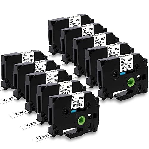MarkField Kompatible Laminiert Schriftband als Ersatz für Brother P-Touch TZ TZe-231 Etikettenband für PT-H105 H108 H101C H100LB/R 1000 1010 D200 E100, Schwarz auf Weiß, 12mm x 8m, 10 Pack