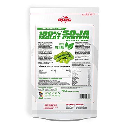 BWG 100% Vegan Soja Isolat Protein Shake, Laktosefrei rein pflanzliches Eiweiss Pulver, Vanilla, 1000 g